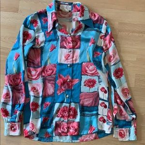 Vintage Neiman Marcus floral shirt small